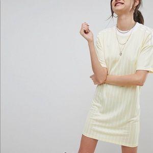 Adidas originals three stripe dress in yellow
